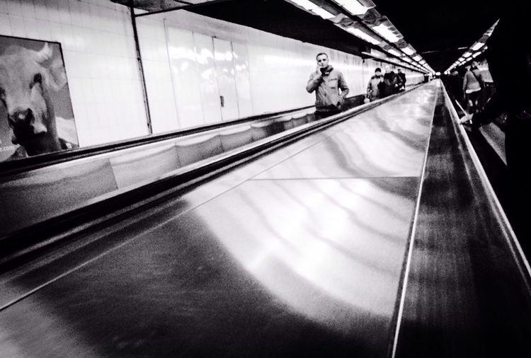 Subway Station Taking Photos Monochrome Public Transportation