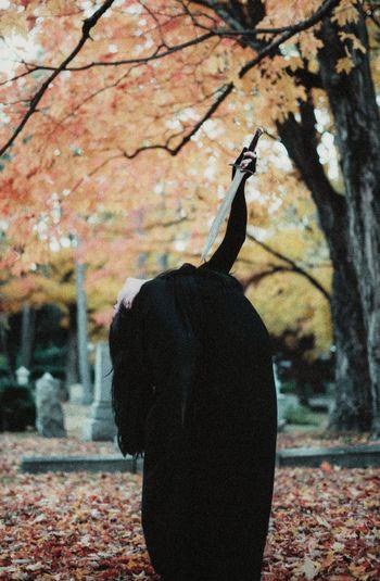 inevitable truth Witch Sword Dagger Cloak Graveyard Dark Darkart Dark Photography Autumn Cemetery