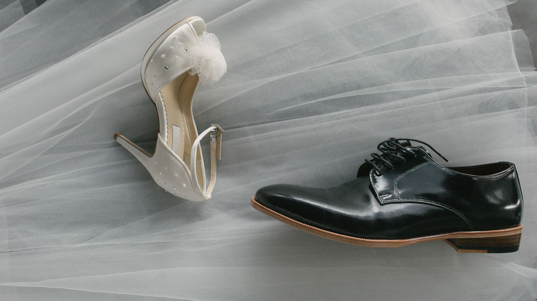 shoes of the groom and the bride for the wedding ceremony. Wedding Wedding Shoes Bride And Groom Close-up High Angle View Indoors  Men Shoes No People Shoe Still Life Table White Color Women Shoes
