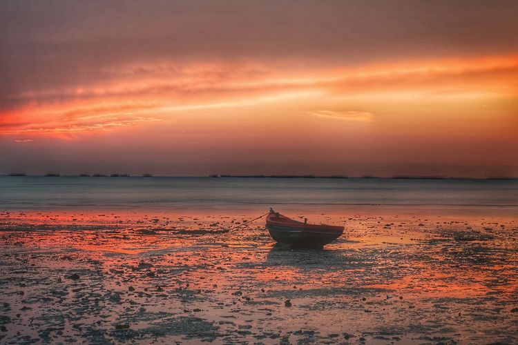 Sunset Water Low Tide Sea Sunset Beach Flamingo Red Sun Silhouette Reflection Seascape Reflection Lake Coast Romantic Sky