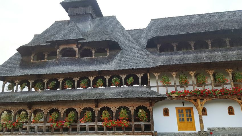 Geraniums at Monastery Romania Religion Maramures Barsana Monastery Architecture Built Structure Building Exterior Arch Travel Destinations History Outdoors