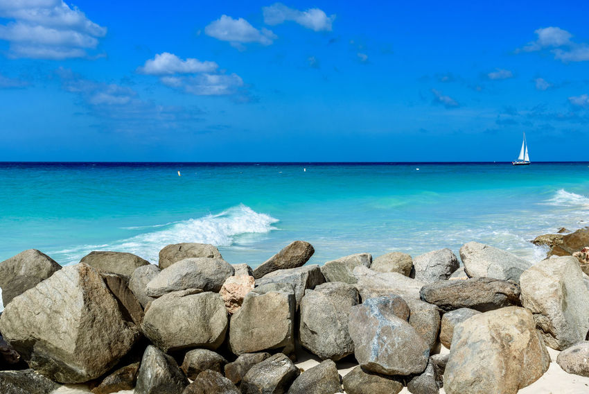 Calm Dreamy Landscape Eagle Beach, Aruba Exotic Stunning Blue Caribbean Day Dutch Horizon Over Water Idyllic Leisure Nature No People Outdoors Relax Relaxation Resort Rocks Scenic View Sea Summer Tropical Tuquoise Water