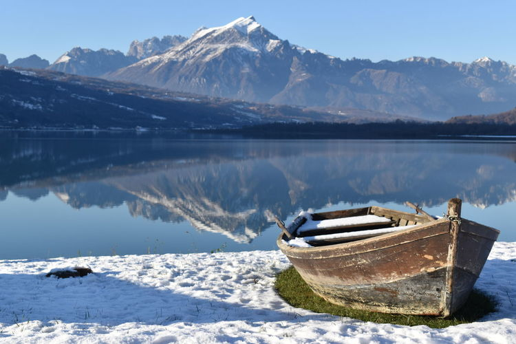 Scenic view of snowcapped mountains by lake