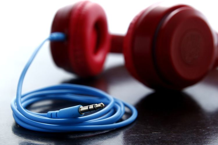Close-up of headphones on table
