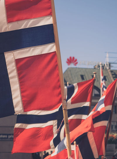 City Close-up Cultures Day Flag Freedom Holiday National Icon No People Norway Oslo Oslo Norway Outdoors Parade Patriotism Pride Red Sky Striped Symbolism Unity