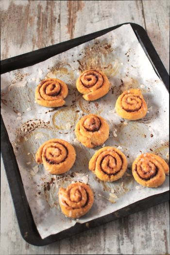 High Angle View Of Cinnamon Rolls Served On Table