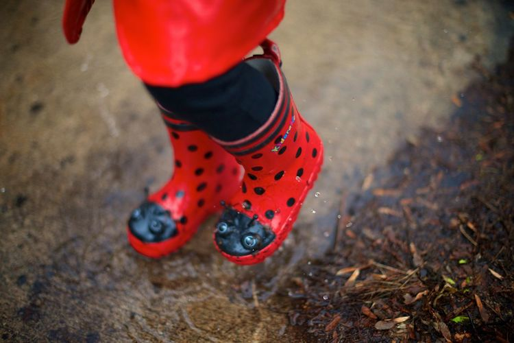 Boots Kids Ladybug Body Part City Day Focus On Foreground High Angle View Human Body Part Human Foot Human Leg Land Leisure Activity Lifestyles Nature One Person Outdoors Puddle Puddle Splashing Real People Red Shoe Splashing Spotted Standing