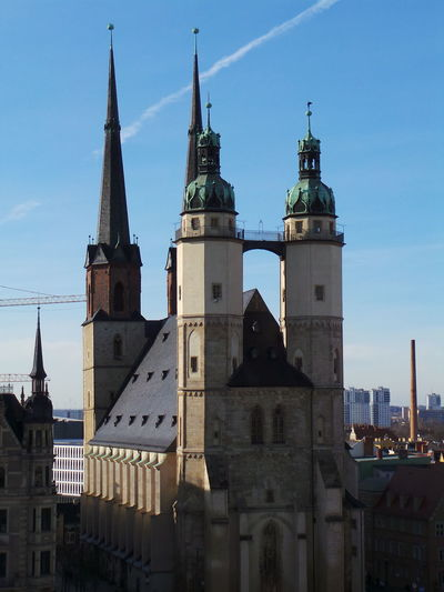 Architecture Architektur Blauer Himmel Blue Sky Church Clock Tower Germany Halle  Halle/Saale Kirche Religion Spirituality Your Ticket To Europe