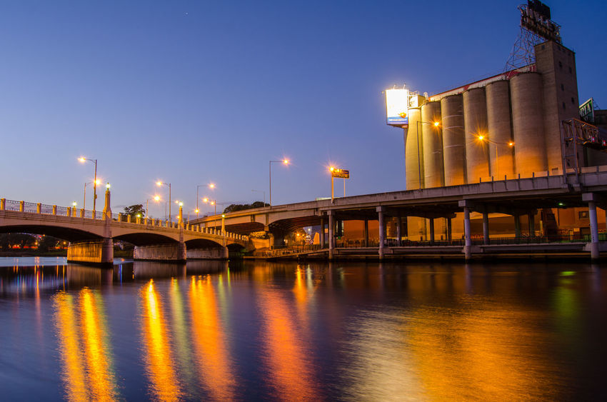 Nighttime shot of the Nylex Building in Melbourne Architecture Bridge Bridge - Man Made Structure City City Life Cityscape Illuminated Long Exposu Melbourne Night River River Water Waterfront