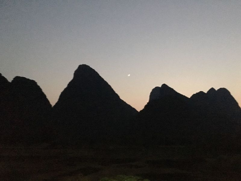 Mountain Nature Silhouette Sunset Tranquility Scenics Tranquil Scene Beauty In Nature No People Mountain Range Outdoors Desert Landscape Sky Day Guilin Yangshuo, China EyeEmNewHere Lost In The Landscape