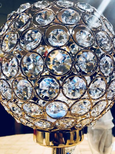 Close-up of ornate glass on table