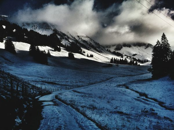 Snow Winter Cold Temperature Cloud - Sky Outdoors Nature Sky Mountain No People Landscape Scenics Day Beauty In Nature Tree lac noir jaun berge weite Perspectives On Nature Snowcapped Mountain Schweiz Tranquility Beauty In Nature Tranquil Scene Switzerland Alpen Berge Low Angle View
