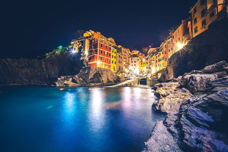 Riomaggiore Italian Riviera. Italy. Beauty City Cityscape Harbor IT Italy Landscape Nautical Vessel Night Nightlife Nightphotography Outdoors People Plant Riomaggiore Snow Tourism Travel Travel Destinations Twilight Vacations Water