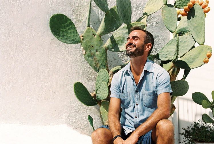 35mm 35mm Film Analogue Photography Cactus Kodak Puglia Summertime Beard Casual Clothing Cheerful Day Daylight Film Photography Filmisnotdead Happiness Kodak Portra Men One Man Only One Person People Smiling Summer Sun Light Young Adult