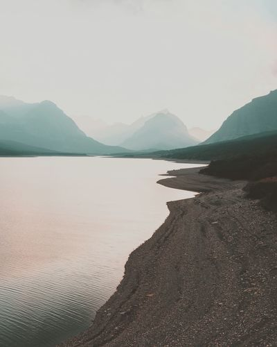 Sunset at Glacier National Park // Lake Clouds Mountains