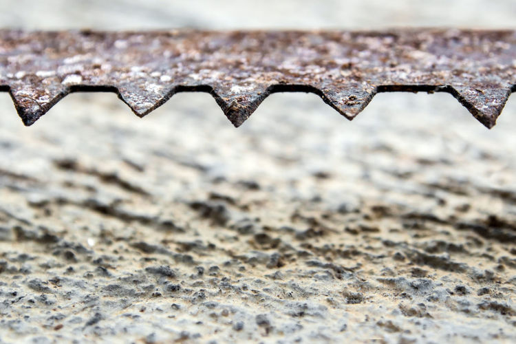 The sharpness of saw blade is old and rusty On the concrete floor Metal Textured  Pattern Rusty Rough Close-up Old Selective Focus Focus On Foreground Sharp Industry Saw Saw Blade Detail Equipment Construction Tool Tools Steel Teeth