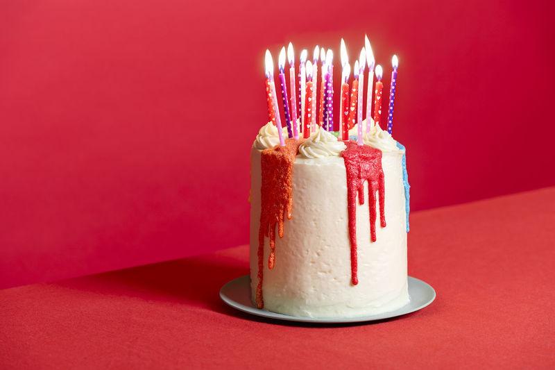 Close-up of cake on illuminated candle