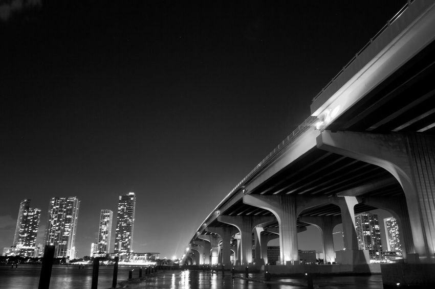 No sleep at night Architecture Blackandwhite Bridge Built Structure Capital Cities  City City Life Cityscapes Connection Illuminated Landscape_photography Lights Miami Miami Beach Modern Night Nightphotography Outdoors Sky