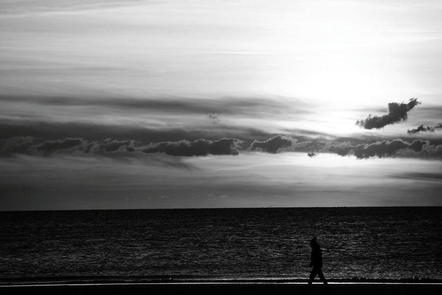 Monochrome Photography Germany Sylt Man Walking On Beach