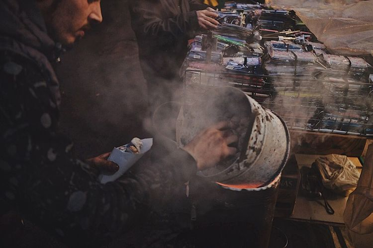 Real People Occupation High Angle View Smoke - Physical Structure Men Working Preparation  Indoors  Factory Food Industry Day One Person Workshop Freshness Human Hand Adult People Discover Italy / With Ale The Minimals (less Edit Juxt Photography) The Street Photographer - 2017 EyeEm Awards Streetphotography
