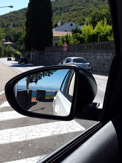 Car Land Vehicle Reflection Water Side-view Mirror End Of Hollyday In Kroatien.