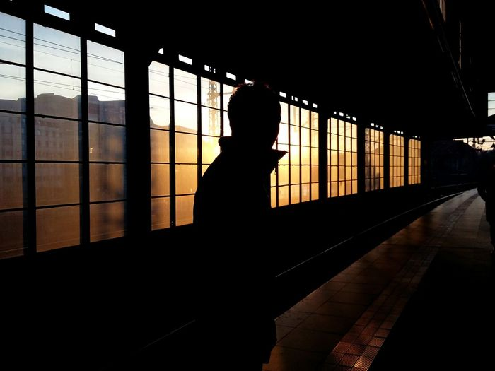 Silhouette man standing in railroad station during sunset