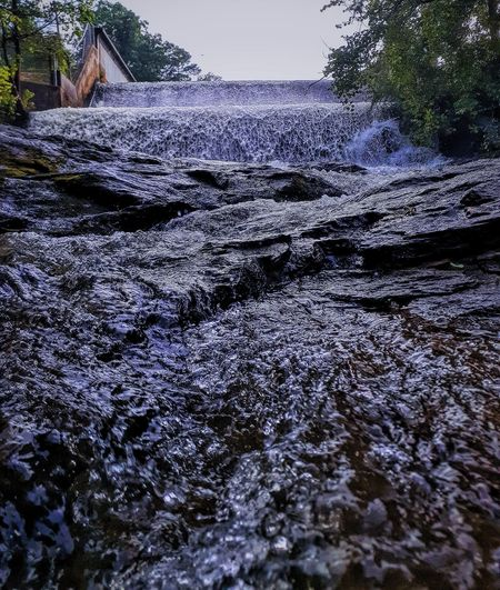 Surface level of water flowing through rocks