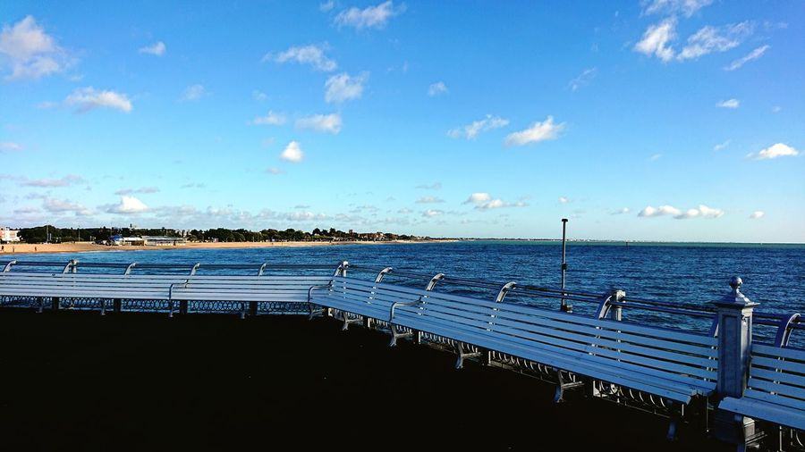 Sea Beach Pier Sky Water Horizon Over Water Outdoors No People Cloud - Sky Blue Day Tranquility South Parade Pier