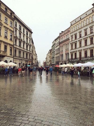 Krackow, Poland, Old Town Square, Rainy Day