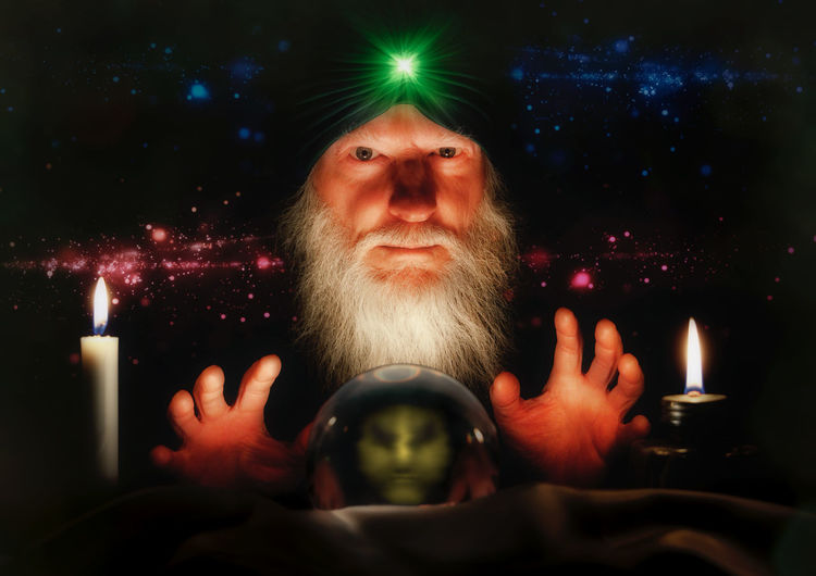 Digital composite image of man