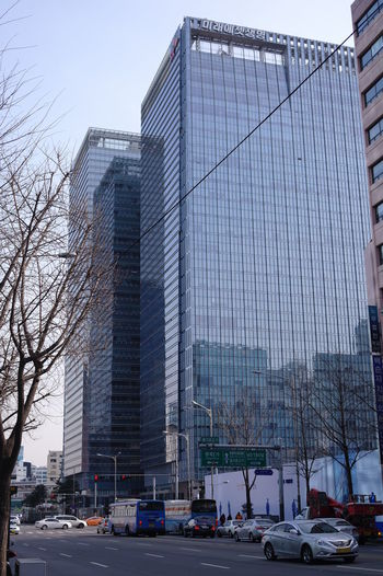 Seoul downtown City Architecture Building Exterior Built Structure Motor Vehicle Car Office Building Exterior Street Building Modern Skyscraper