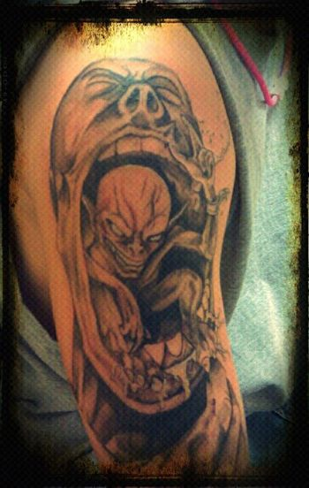 """3rd Tattoo (9/7/2011) Location: Right Outside Arm (half sleeve) Artist: Native Flesh John Butler Meaning to me: I think everyone went through at least one time in there lives when they were constantly stepped on. This represents that """"evil"""" or """"dark"""" si"""