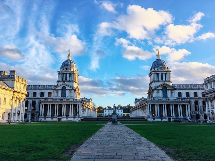 Old Royal Naval College Greenwich Maritime Greenwich UNESCO World Heritage Site World Heritage Maritime Greenwich Navy ChristopherWren Sky Architecture Built Structure Building Exterior Cloud - Sky Travel Destinations Building Travel Tourism History The Past Tower No People