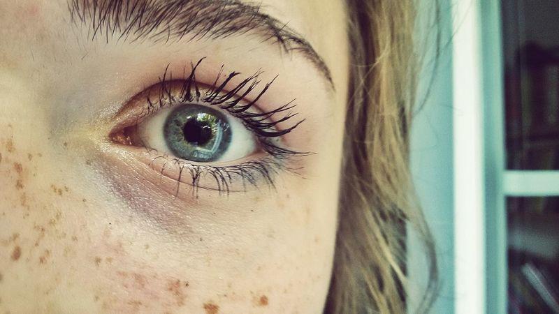 Eye Eyelashes Eyebrows Freckless Blue Eye