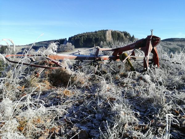 alter Wender von Frost überzogen No People Beauty In Nature Outdoors Day Sky Old Farm Machinery Old Farm Equipment Frozen Nature Blue Sky Frozen Grass EyeEmNewHere