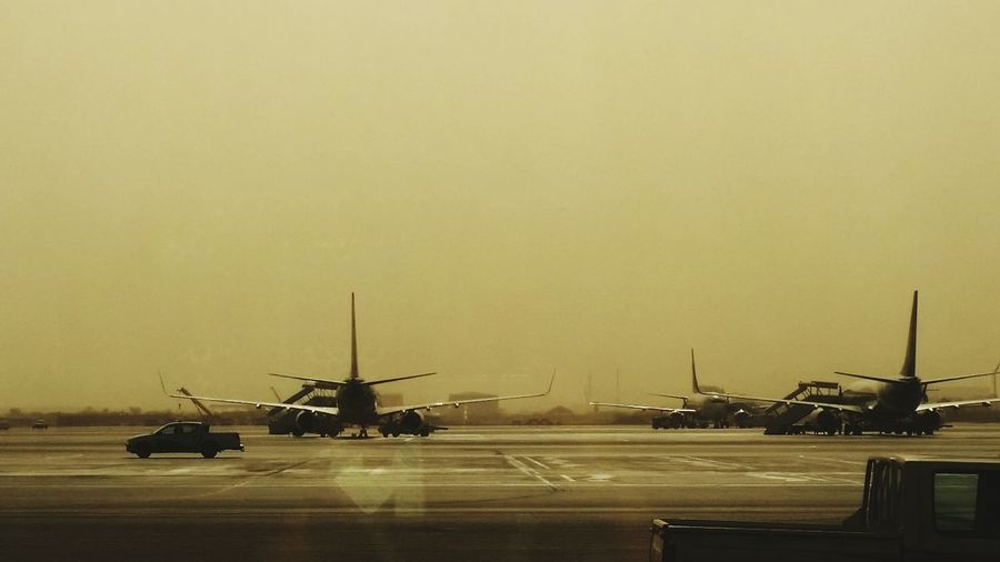 Waiting Airplane Runway Sepiatone