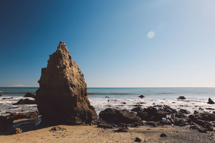 California El Matador Beach Pacific Beach Beauty In Nature Blue Clear Sky Coast Day Horizon Over Water Nature No People Ocean Outdoors Rock - Object Scenics Sea Shore Sky Tranquil Scene Tranquility Water