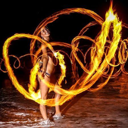 Pyro Fire Goddess Poi Flowarts Flow  Pyro Beautiful Maui