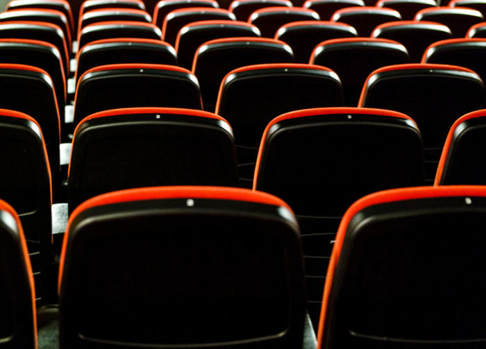 Full frame shot of empty seats at movie theater