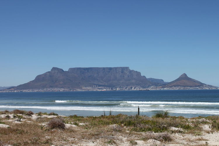 Idyllic shot of table mountain and sea against clear sky