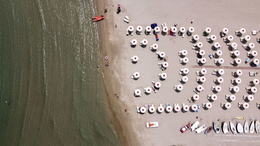 High angle view of group of people on beach