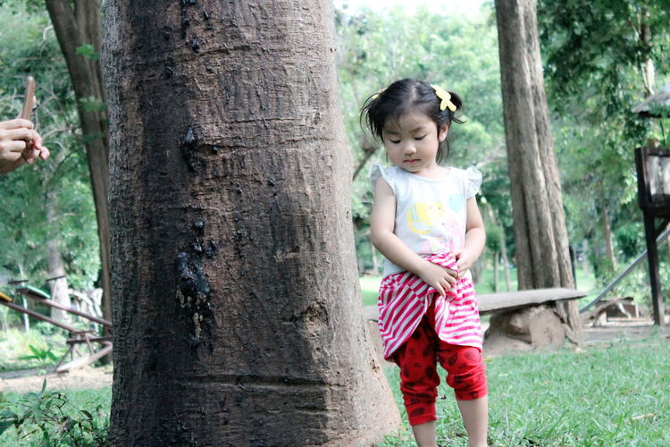 Girls Childhood One Girl Only Children Only Child One Person Casual Clothing Tree Trunk Day Front View Tree Outdoors Grass People Full Length Smiling Nature Child Shy