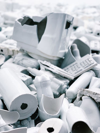 Close-up of damaged plastic equipment