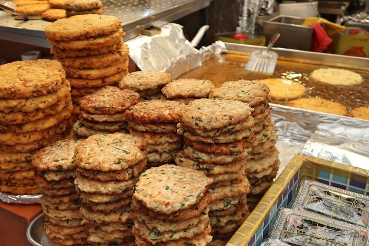 Stack of food for sale in store
