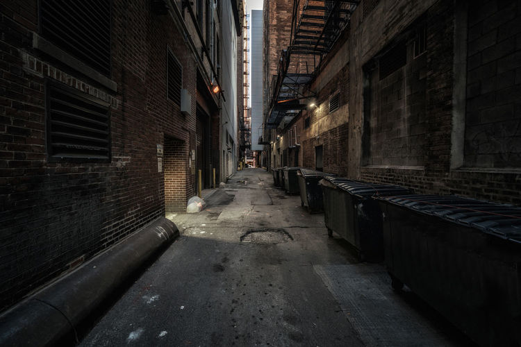 Empty Chicago alley, daytime Chicago Illinois Wall Alley Metal Stairs No People Stone Street Trash Cans Urban Urban Skyline Tiled Wall Wall Lamp Narrow Pathway Stairs vanishing point The Way Forward Walkway