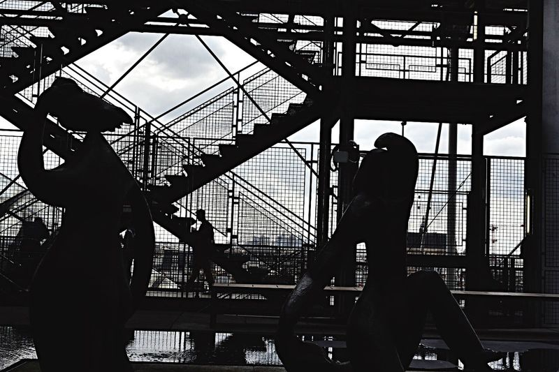 Silhouette Day Built Structure Men Low Angle View Real People People Outdoors Lifestyles Sky Architecture Stairs Paris ❤ Beaubourg Museum Of Modern Art Architecture Art Is Everywhere
