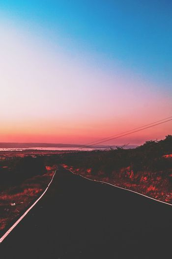 Say yes to new adventures! 💞🔥💯 Sunset Landscape Nature Scenics Rural Scene No People Tranquility Outdoors Beauty In Nature Road Sky Evening Moody Moodygrams Visualsoflife Travel Wanderlust Love Explore VSCO Goa India Endless Road Infinity