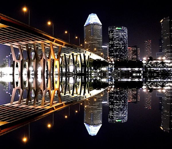 Bridge - Man Made Structure Building Exterior City Night Outdoors Cityscape Urban Skyline City Life Modern Built Structure Architecture Reflection On Building Night Photography