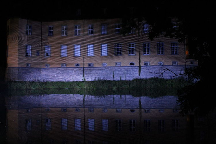 Architecture Built Structure Dark Darkness And Light EyeEm Gallery EyeEm Illuminated EyeEm Nature Lover Illuminated Learn & Shoot: After Dark Lichtspiele Light Night Nightphotography Outdoors Poesie Des Lichts Reflection Reflection Schloss Dyck Tranquil Scene Tree TreePorn Vibrant Color Water Reflections