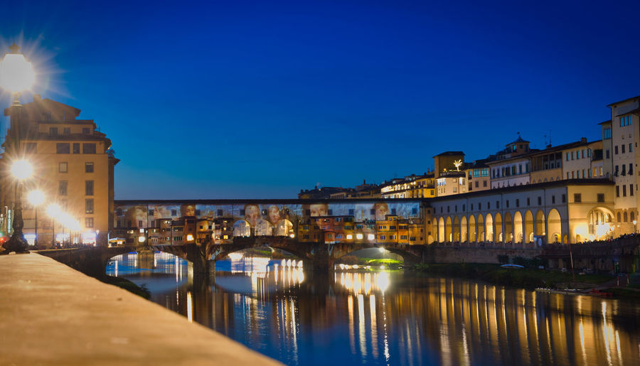 Ponte Vecchio Bluehourphotography Arno River Illuminated Citylights Cityscape Cityscape Photography Reflections In The Water Reflections City Cityscape Illuminated Water Bridge - Man Made Structure History